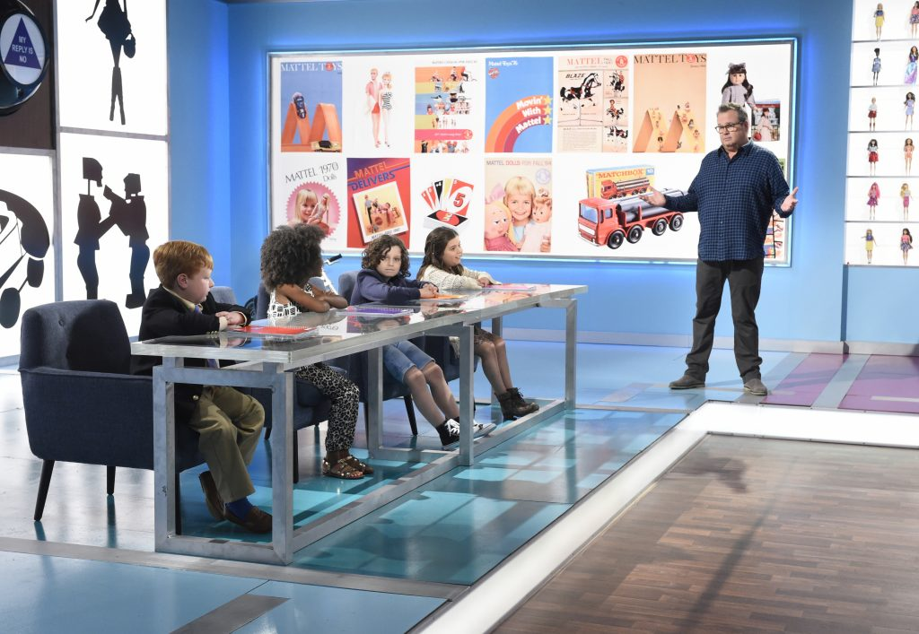 "THE TOY BOX - Show #103 - In each episode of ABC's toy-competition series, ""The Toy Box,"" inventors present their toy concepts to a group of mentors that include Dylan's Candy Bar owner Dylan Lauren, toy guru Jim Silver and Pixar Creative Director of Consumer Products Jen Tan.  If the toy makers get past the mentors, they will move on to The Toy Box, where a panel of young, no-holds-barred judges that include Sophia Grace Brownlee,  Aalyrah Caldwell , Toby Grey and Noah Ritter decide which toy moves on to the finals and is eventually crowned the winner. The eight-episode series hosted by Eric Stonestreet (""Modern Family"") premieres on FRIDAY, APRIL 7 (8:00-9:00 p.m. EST), on the ABC Television Network.    (ABC/Jeff Neira)  NOAH RITTER, AALYRAH CALDWELL, TOBY GREY, SOPHIA GRACE BROWNLEE, ERIC STONESTREET"